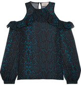 Preen by Thornton Bregazzi Zacharia Cutout Printed Silk-georgette Blouse - Bright blue