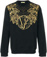 Versace tiger logo embroidered sweatshirt