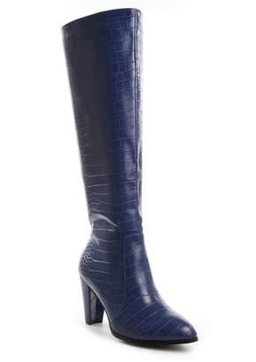 Catherine Malandrino Raddle Tall Shaft Block Heel Crocodile Embossed Boot