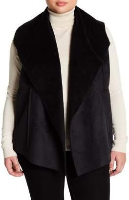 Susina Faux Suede & Faux Shearling Lined Vest (Plus Size)