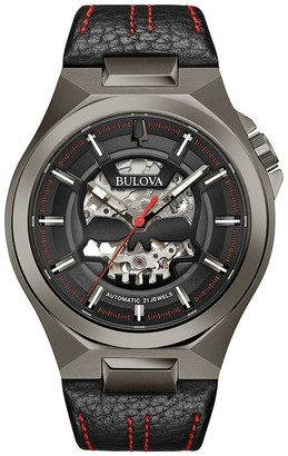 Bulova Men's 98A237 Grey IP Stainless Skeletonized Automatic Black Leather Strap Watch