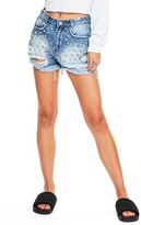 Missguided Women's Studded Distressed Denim Shorts