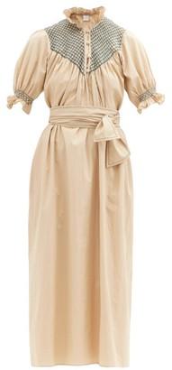 Loretta Caponi Elena High-neck Smocked Cotton Dress - Camel