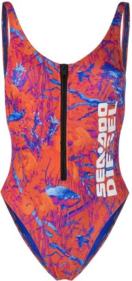Diesel x Sea-Doo camo-fish print swimsuit