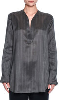 Giorgio Armani Striped V-Neck Silk Tunic, Gray