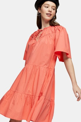 Topshop Coral Poplin Smock Mini Dress
