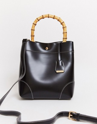 Glamorous bamboo handle bag in black