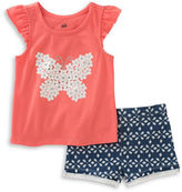 Kids Headquarters Baby Girls Baby Girls Two-Piece Butterfly Top and Shorts Set