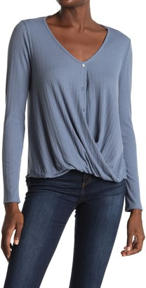 White Willow Long Sleeve Textured Button Front Top