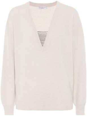Brunello Cucinelli Embellished cashmere V-neck sweater