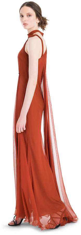 Max Studio silk mesh chiffon long halter dress
