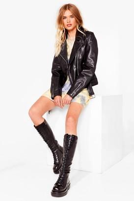 Nasty Gal Womens Stomping Ground Knee High Biker Boots - Black - 3
