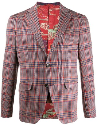 Etro Single-Breasted Houndstooth Blazer
