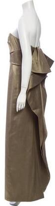 Halston Strapless Long Dress Green