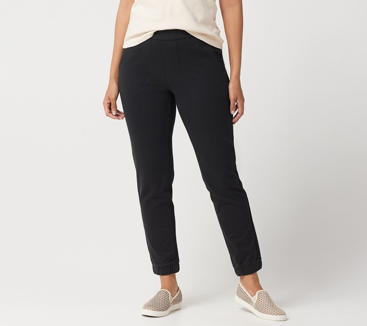 Denim & Co. Petite Comfy Knit Denim Pull-On Jogger Pants