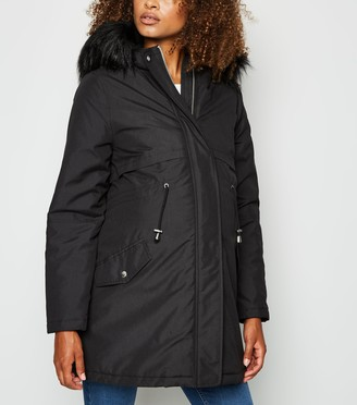New Look Maternity Faux Fur Trim Hooded Parka Jacket