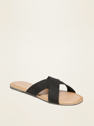 Old Navy Faux-Suede Cross-Strap Slide Sandals for Women