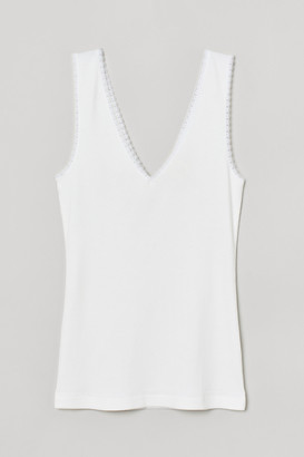 H&M Ribbed Lace-trimmed Tank Top