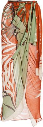 Johanna Ortiz Wrap In The Salt Printed Jersey Wrap Skirt
