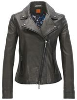 HUGO BOSS Sheepskin Leather Moto Jacket Jamela 4 Charcoal