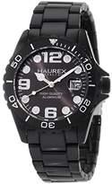 Haurex Italy Women's 7K374DNN Ink Black Aluminum Crystal Skeleton Bracelet Watch