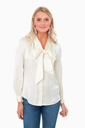 Tory Burch New Ivory Satin Bow Blouse