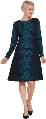 Dennis Basso Printed Luxe Crepe Fit-and-Flare Dress