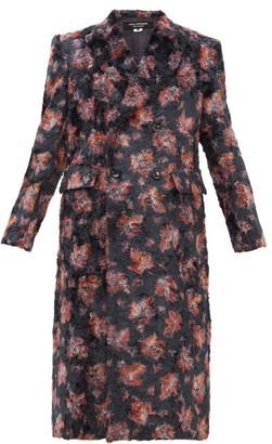 Junya Watanabe Floral-print Double-breasted Faux-fur Coat - Womens - Black Multi
