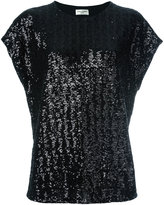 Saint Laurent sequin embellished T-shirt - women - Polyester - S