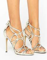 True Decadence Gold Cut Out Heeled Sandals