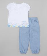 Tommy Hilfiger White & Blue Flower Tunic & Leggings - Infant