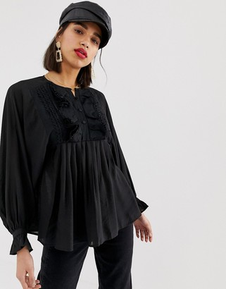Lost Ink relaxed blouse with ruffle v neck-Black