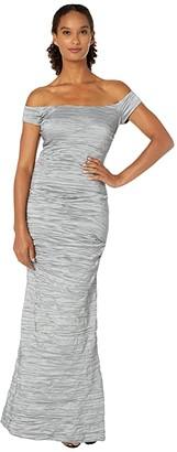 Alex Evenings Long Off-the-Shoulder Stretch Taffeta Dress with Fishtail Skirt (Platinum) Women's Dress