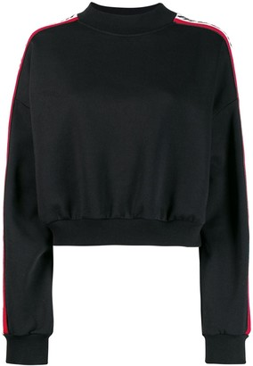 MSGM Logo Stripe Cropped Sweatshirt