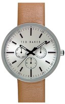 Ted Baker Men's Multifunction Leather Strap Watch, 42Mm