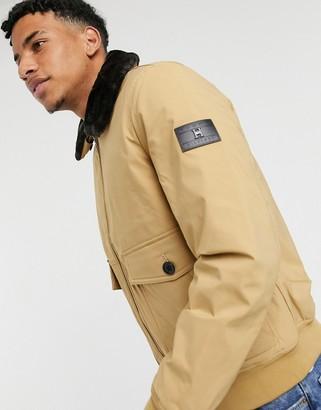 Tommy Hilfiger light padded bomber jacket detatchable faux fur collar in sand