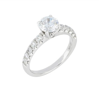Bony Levy Pave Diamond Round Solitaire Engagement Ring Setting