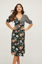 Little Mistress Motley Black Floral-Print Midi Tea Dress