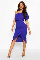 boohoo One Shoulder Pleat Detail Midi Dress