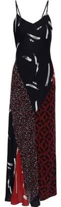Joie Braewin Patchwork-effect Printed Silk-chiffon Maxi Slip Dress