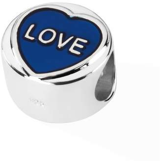 Love Hearts Official Sterling Silver & Translucent Blue Enamel LOVE Charm