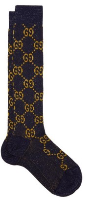 Gucci Gg Metallic Knee-high Cotton-blend Socks - Womens - Blue Multi