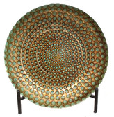 EC World Imports Casa Cortes Hand-Painted Pearl Artisan Glass Decorative Plate