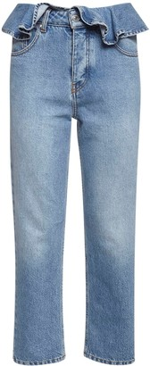 MSGM Ruffled Cotton Denim Jeans