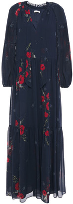 Joie Ruffle-trimmed Gathered Floral-print Silk-georgette Maxi Dress