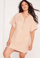 Missguided Plus Size Faux Suede Zip Up Shift Dress Nude