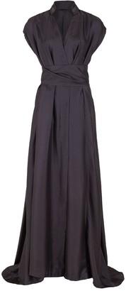 Brunello Cucinelli Silk Twill Wrap Full Gown