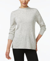 Charter Club Petite Cashmere Mock-Neck Donegal Sweater, Only at Macy's
