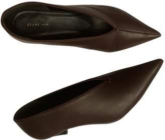 Celine Soft V Neck Burgundy Leather Heels