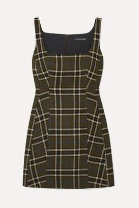 ALEXACHUNG Plaid Twill Mini Dress - Army green